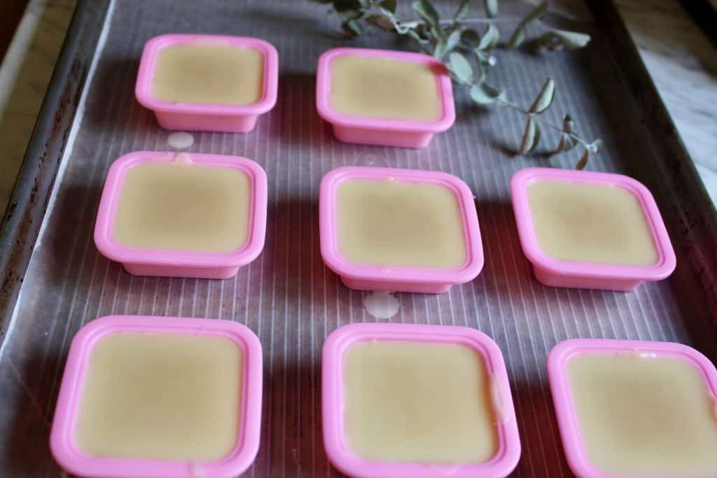 homemade lotion bars setting up in silicone molds