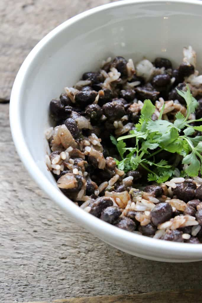 plant-based meal of black beans and rice