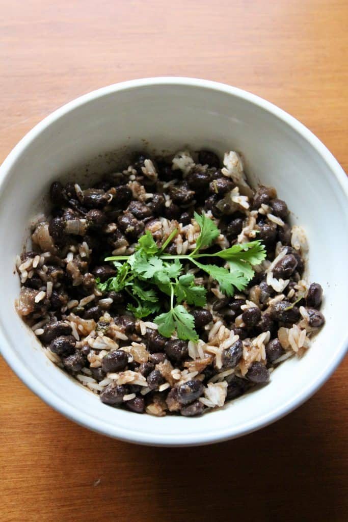 black beans and jasmine rice topped with cilantro