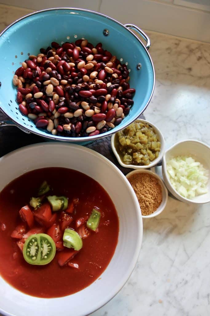 simple ingredients to make vegetarian chili