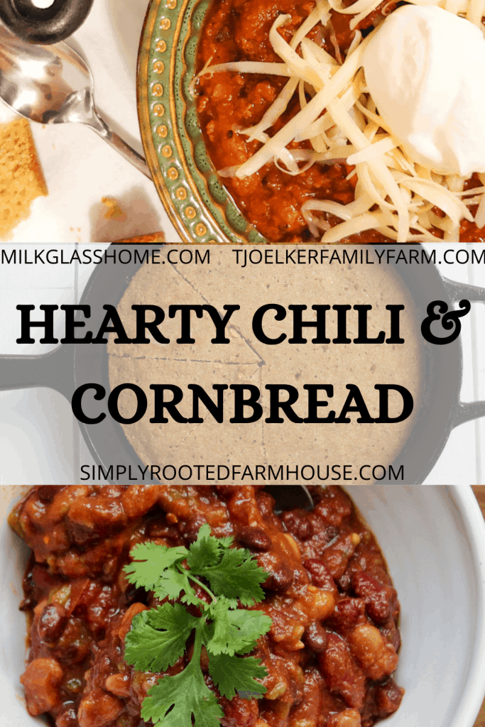 hearty chili and cornbread