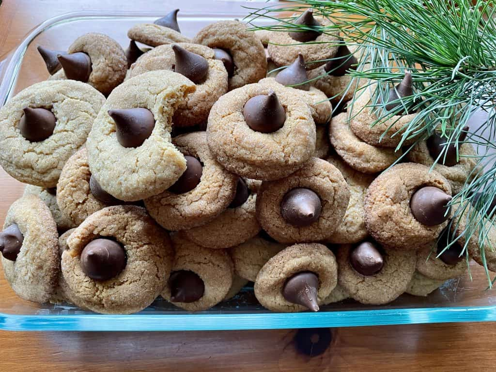 making peanut butter blossoms for Christmas