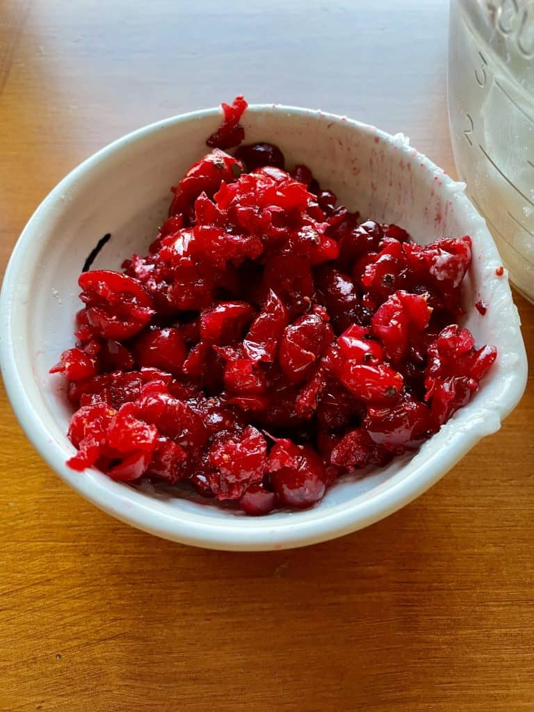 chopped cranberries for homemade scrub