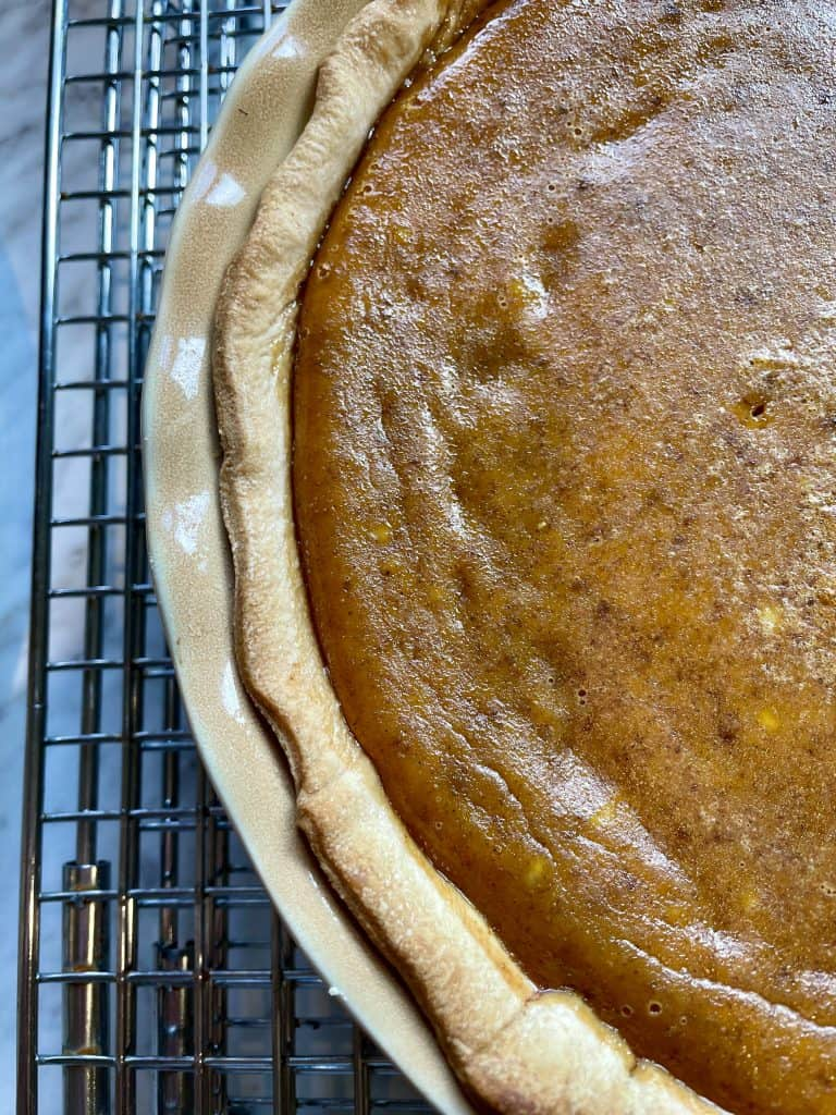 pie on cooling rack