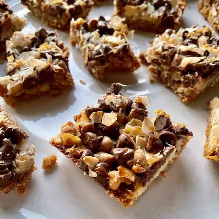 chocolate and peanut butter chips on magic bars