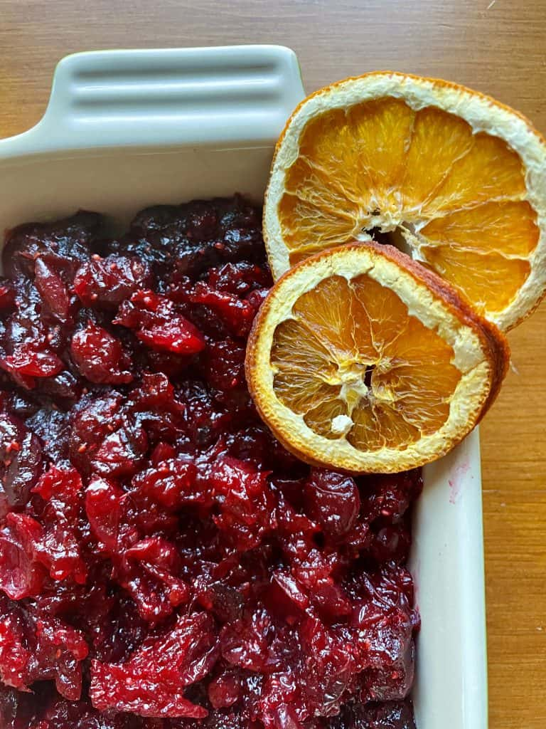 freshly made cranberry sauce