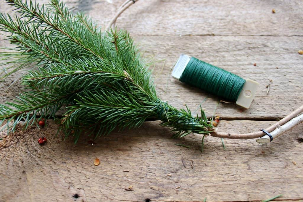 how to tie evergreens onto a wreath