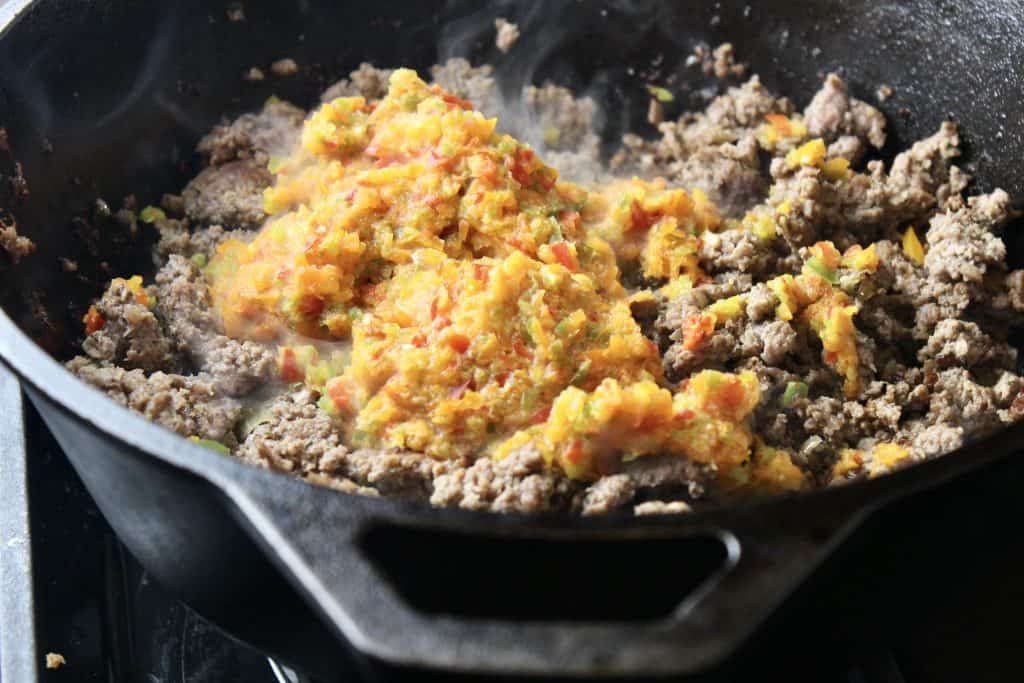 pureed peppers are added to ground beef to make this unstuffed pepper recipe healthy