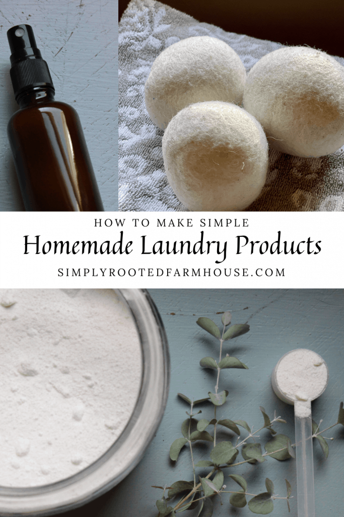 collage of homemade laundry products