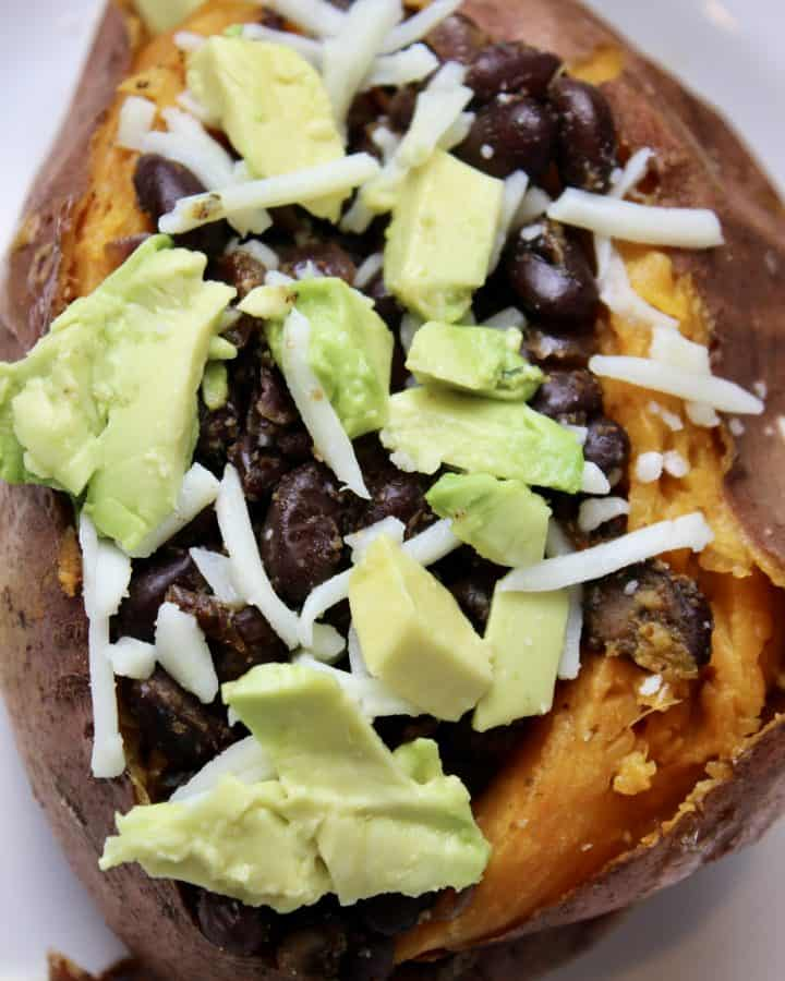 spicy and savory black bean stuffed sweet potatoes