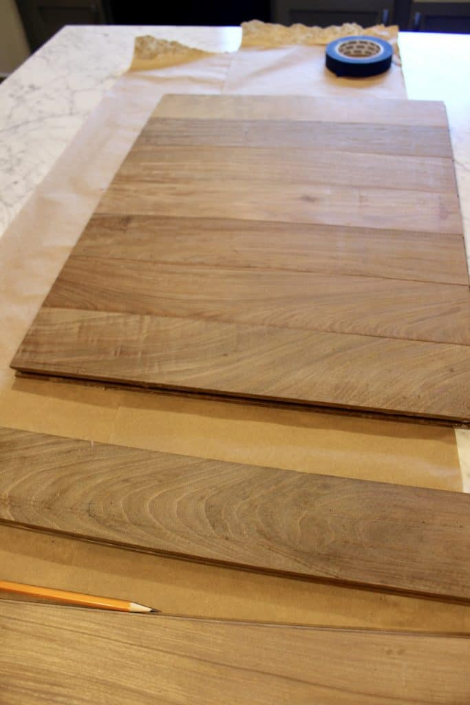 aying out diy hardwood charcuterie board pieces