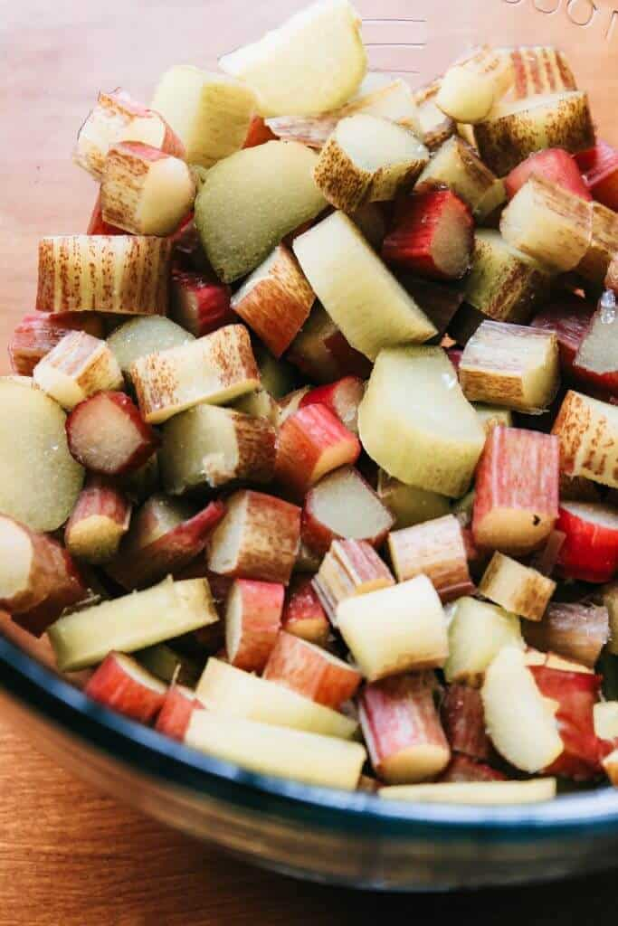 freshly chopped rhubarb