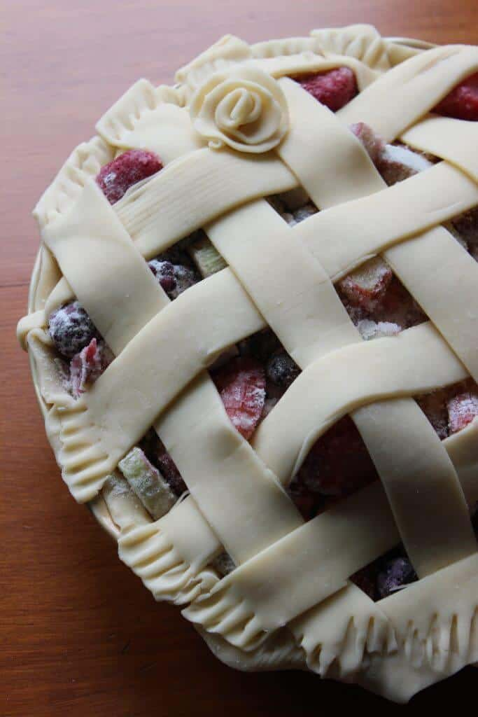 pie topped with criss cross crust patter