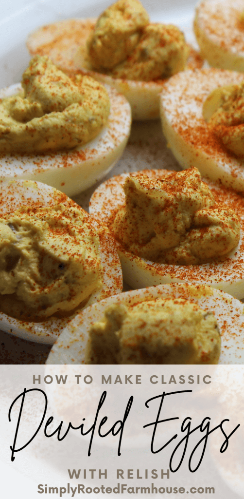 side view of deviled eggs sprinkled with paprika
