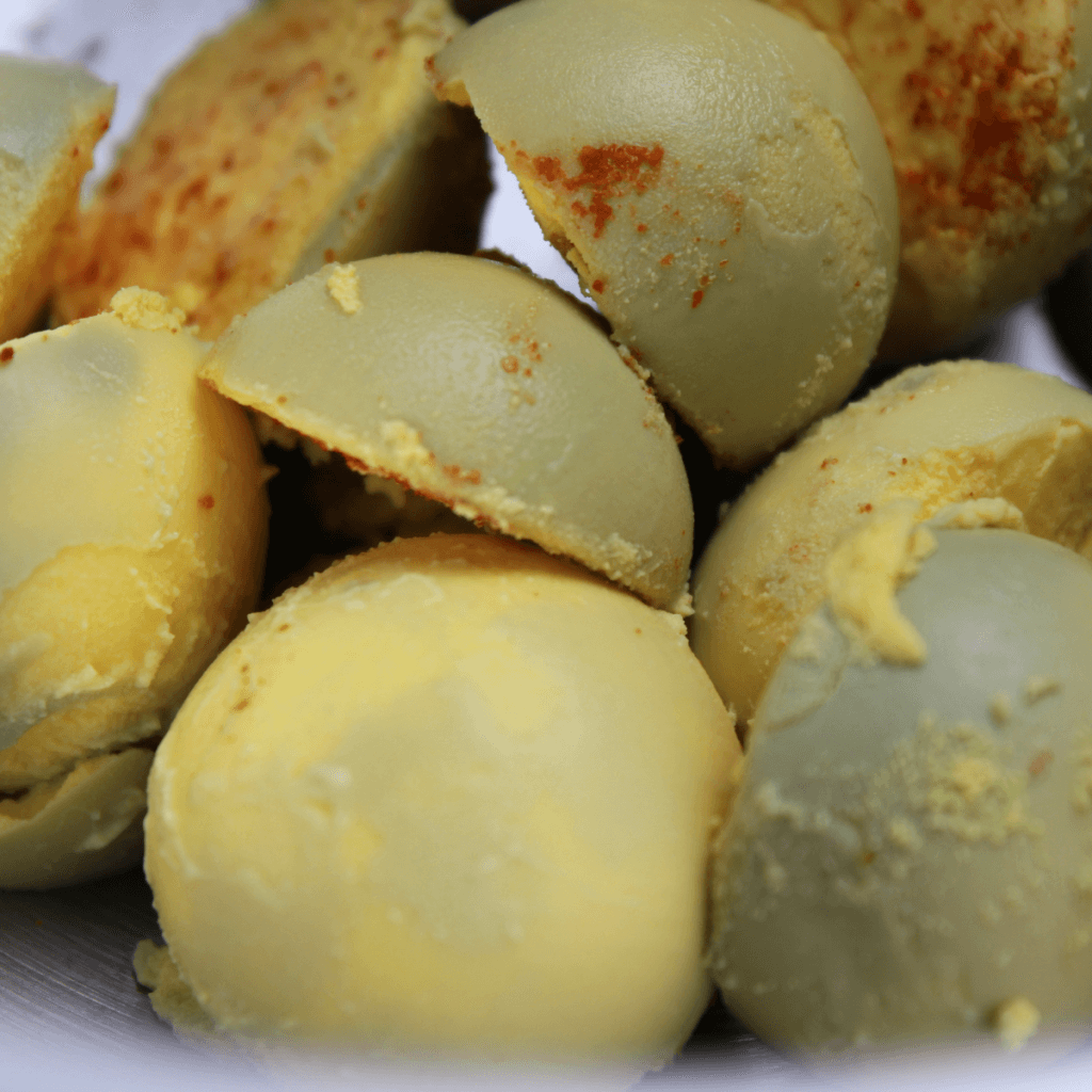 hard boiled egg yolks to be mashed into deviled eggs
