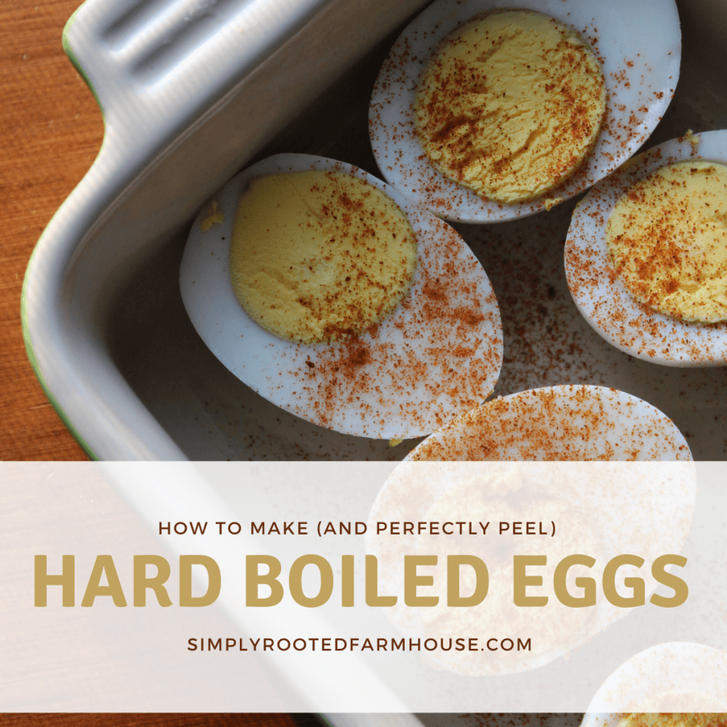 hard boiled eggs in a pan pin
