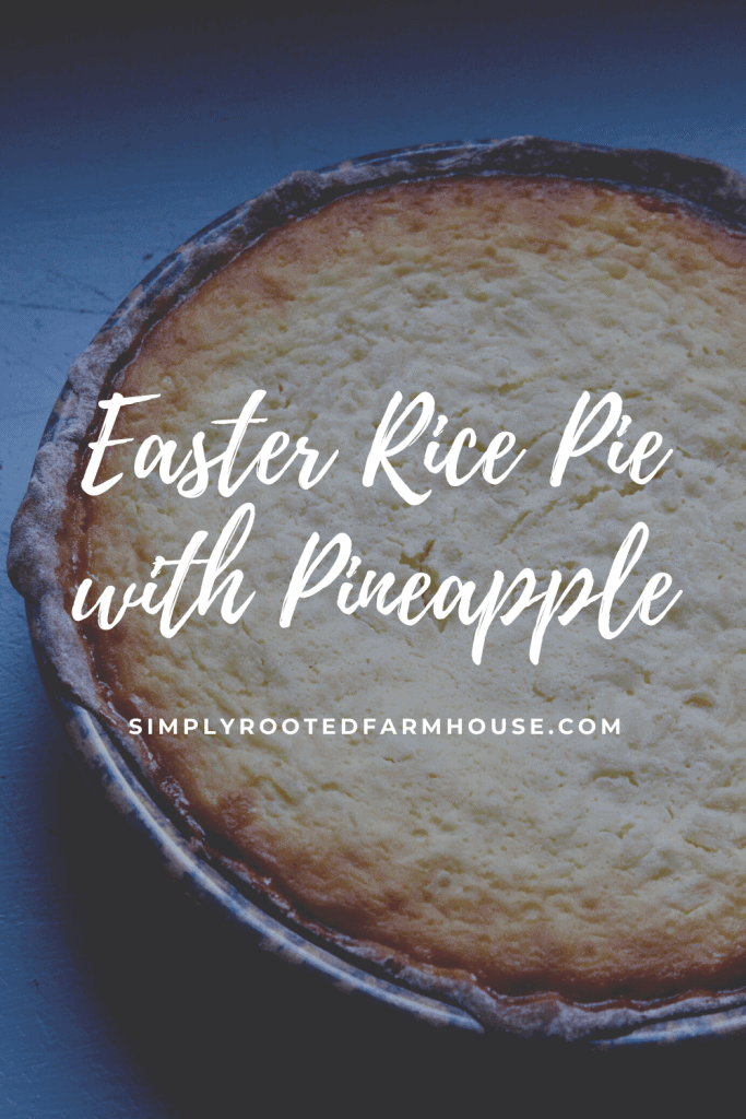 easter rice pie with pineapple with a dark blue backdrop